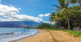 Een van de vele mooie stranden op Maui.