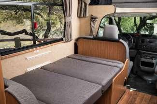 In een handomdraai creëert u een slaapplek in de camper.