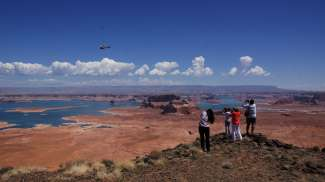De top van Tower Butte is alleen bereikbaar met een helicopter.