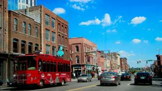 Downtown Nashville waar u nog veel oude panden en muziekbars vindt.