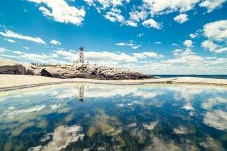 De vuurtoren van Peggy's Cove in Nova Scotia.