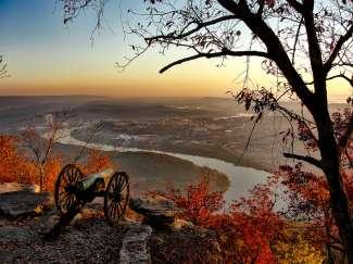 Herfstkleuren in Chattanooga, Tennessee.