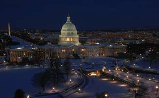 The Washington D.C. during the winter time with snow