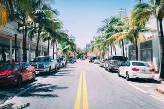 Wuivende palmen in de straten van Miami