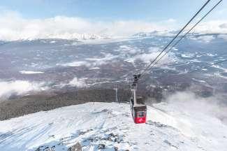 Skytram van Jasper in de winter