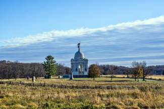 Gettysburg is een belangrijk oorlogsmonument in Pennsylvania Oost Amerika.