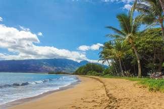 Kihei aan de zuidwestkust van Maui is het meest zonnige en droge deel het eiland.