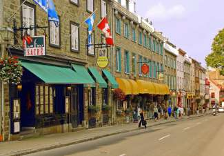 De winkelstraat in Lower Town Old Quebec