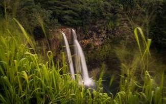De de indrukwekkende Wailua Falls komen uit in de South Fork Wailua River.
