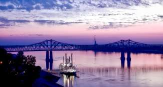 De beroemde casino boot op de rivier de Mississippi.