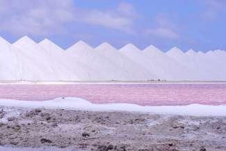 In het zuiden van Bonaire wordt nog steeds zout gewonnen. Onderweg kunt u grote zoutbergen tegen komen.