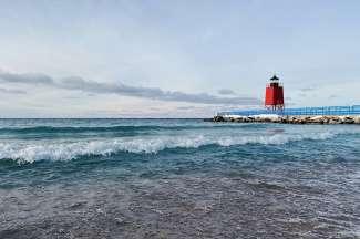 De kustlijn van Lake Michigan.
