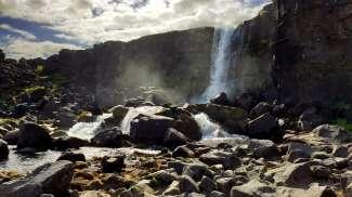De Öxarárfoss waterval ligt in het Nationale park Þingvellir