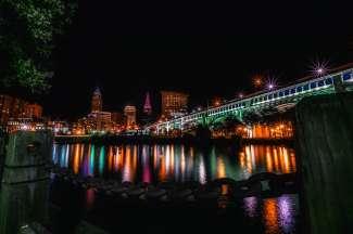 Panorama zicht in Cleveland, Ohio.