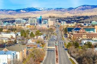 Uitzicht op de stad Boise, Idaho.