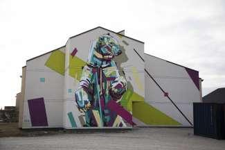 Typische muurschildering in Churchill, Manitoba.