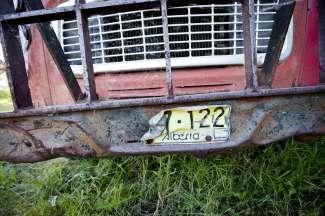 Oude klassieke auto bij Drumheller