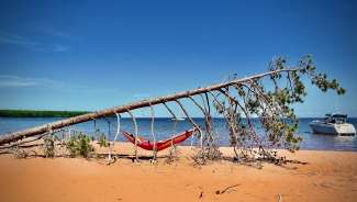 Ontspannen op Lake Superior, Minnesota, VS.