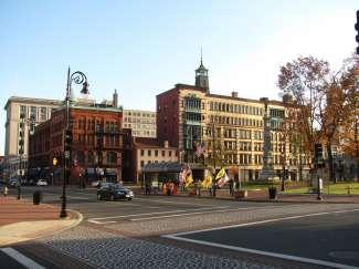 De historische wijk Court Square in Springfield MA