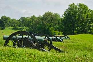 Oude burgeroorlogkanonnen uit 1863.