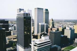 Het bruisende centrum van Tulsa.