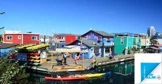 De kleurrijke Fisherman's Wharf in Victoria.