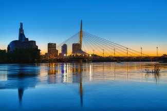 Skyline van Winnipeg in Manitoba