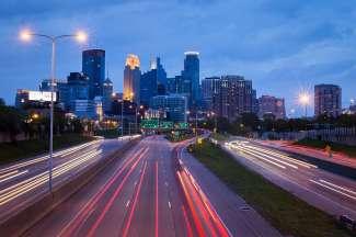 Levendige stad in Minnesota, VS.