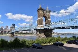 De Roebling-hangbrug is het symbool van Cincinnati.