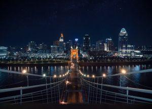 Roebling Suspension Bridge by Night